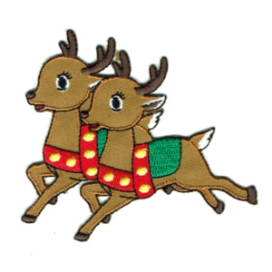 Iron on embroidered reindeer pair patch