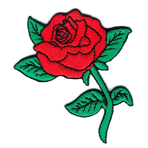 Iron on embroidered red rose patch