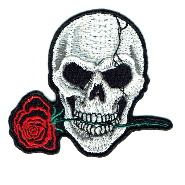 Iron on embroidered rose skull patch