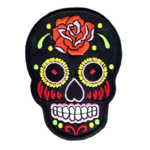 Iron on embroidered rose sugar skull patch
