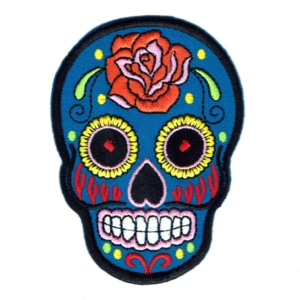 Iron on embroidered blue rose sugar skull patch