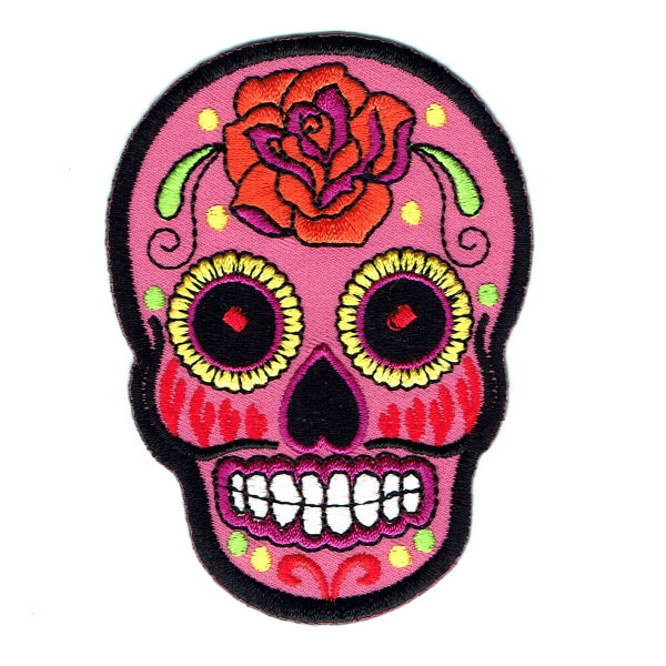 Iron on embroidered pink rose sugar skull patch