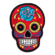 Iron on embroidered red rose sugar skull patch