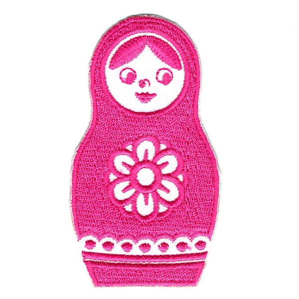 Iron on embroidered pink Russian doll patch