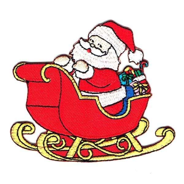 Iron on embroidered ed santa sleigh christmas patch