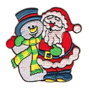 Iron on embroidered santa and snowmanmpatch