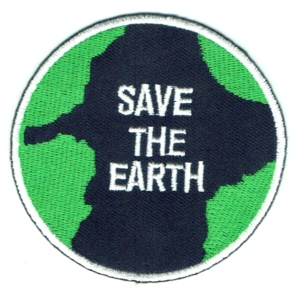 Iron on embroidered round save the earth iron on patch