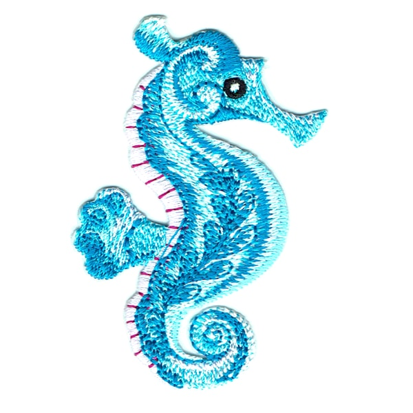 Iron on embroidered blue seahorse patch