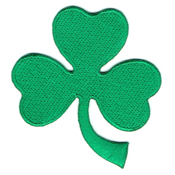 Iron on embroidered green shamrock patch