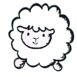 Iron on embroidered white sheep patch
