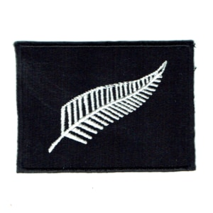 Iron on embroidered black New Zealand silver fern patch