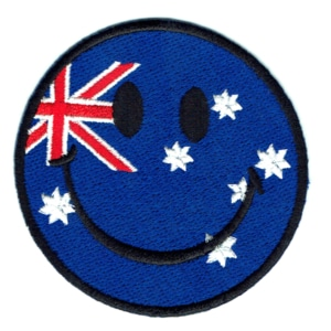 Iron on embroidered smiley Australia patch