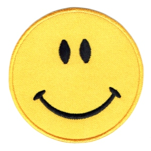 Iron on embroidered round yellow smiley face patch