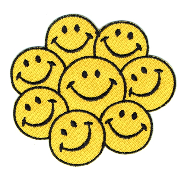 Iron on embroidered group of eight yellow smiley faces patch