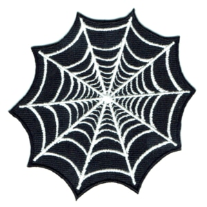 Black and white embroidered iron on spider web patch