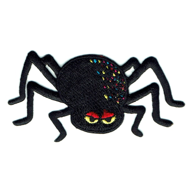 Iron on embroidered black spider patch with red and yellow eyes