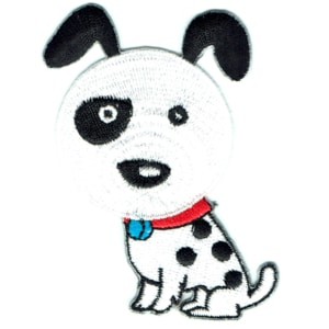 Iron on embroidered spotty dog patch