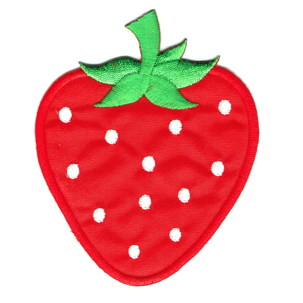 Iron on embroidered red strawberry patch