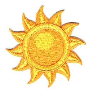 Iron on embroidered yellow sun patch