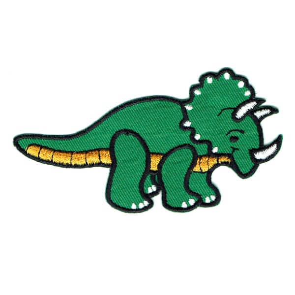 Iron on embroidered green triceratops patch
