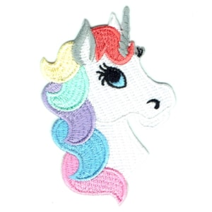 Iron on embroidered cute unicorn head patch