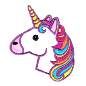Iron on embroidered unicorn head patch