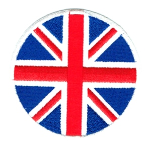 Iron on embroidered round british union jack patch