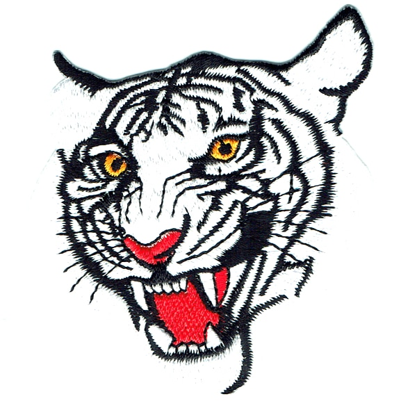 Iron on embroidered white tiger patch