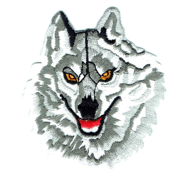 Iron on embroidered grey wolf patch