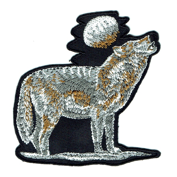 Iron on embroidered wolf moon patch
