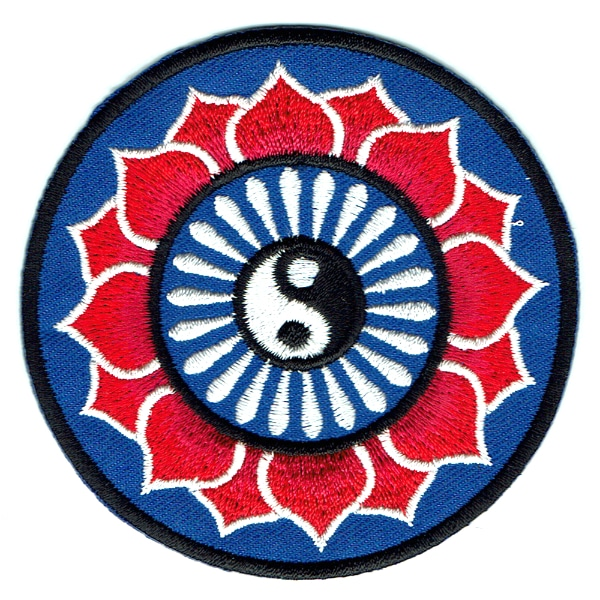 Iron on embroidered round yin yang lotus flower patch
