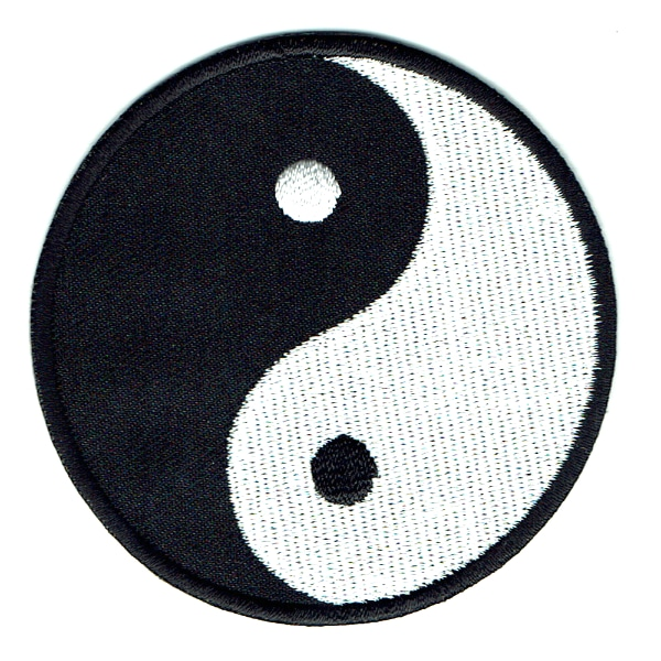 Iron on embroidered round black and white yin yang patch