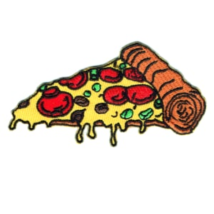 Iron on embroidered pizza patch