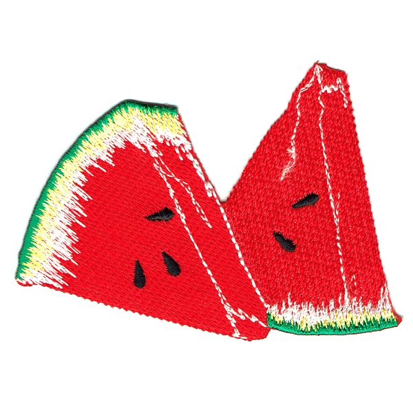 Iron on embroidered patch of two watermelon slices