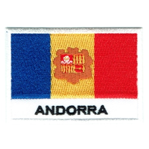 Embroidered iron on national flag of Andorra with name text.