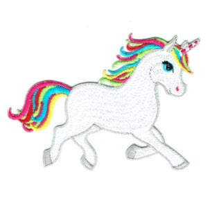 Iron on embroidered white baby unicorn patch with colourful rainbow mane and tail