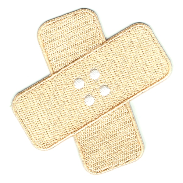 Iron on embroidered patch of 2 band aids crossed over each other