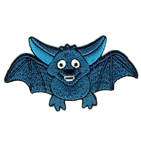 Iron on embroidered cute blue bat patch