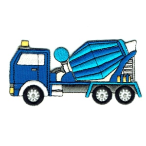 Iron on embroidered blue cement truck patch