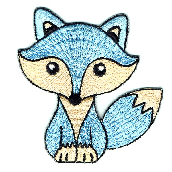 Iron on embroidered cute light blue fox patch