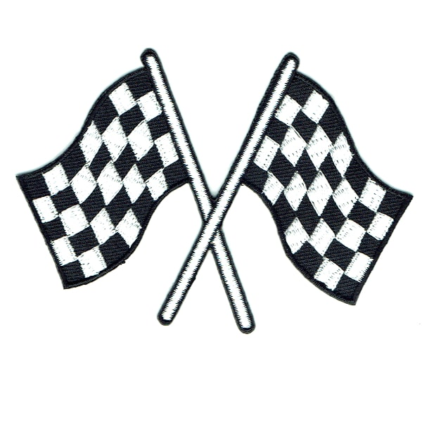Iron on embroidered patch of a pair of checker flags