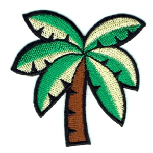 Iron on embroidered tropical style coconut palm patch