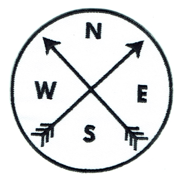 Round iron on embroidered white and black arrow compass patch