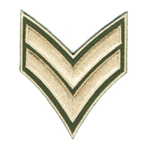 Military green iron on embroidered corporal chevron rank patch