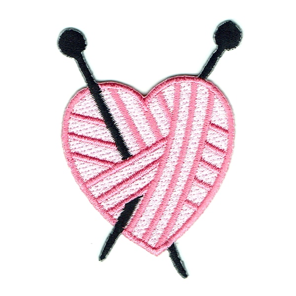 Iron on embroidered patch of a pink woollen ball in the shape of a heart with two knitting needles