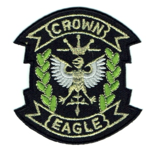 Iron on embroidered crest patch of the crown eagle detailed with gold thread