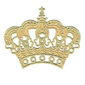 Iron on embroidered gold crown emblem patch