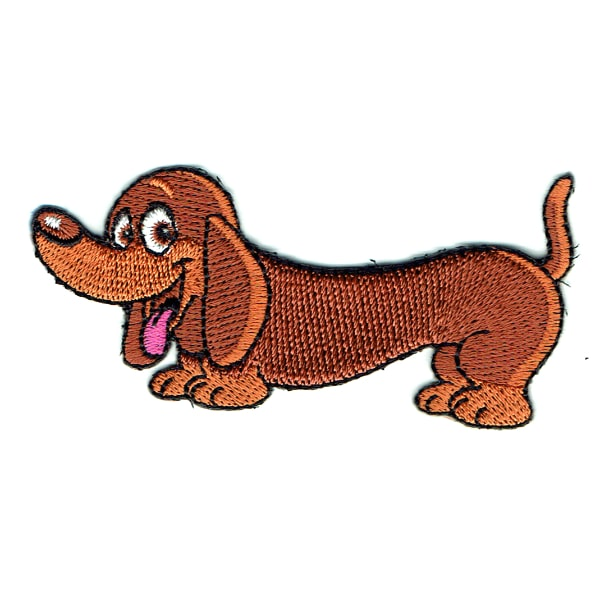 Iron on embroidered brown dachshund dog patch