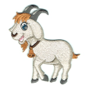 Iron on embroidered happy goat patch with a bell around his neck
