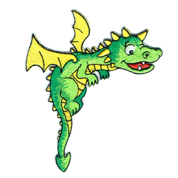 Iron on embroidered happy green dragon patch with yellow wings and spikes